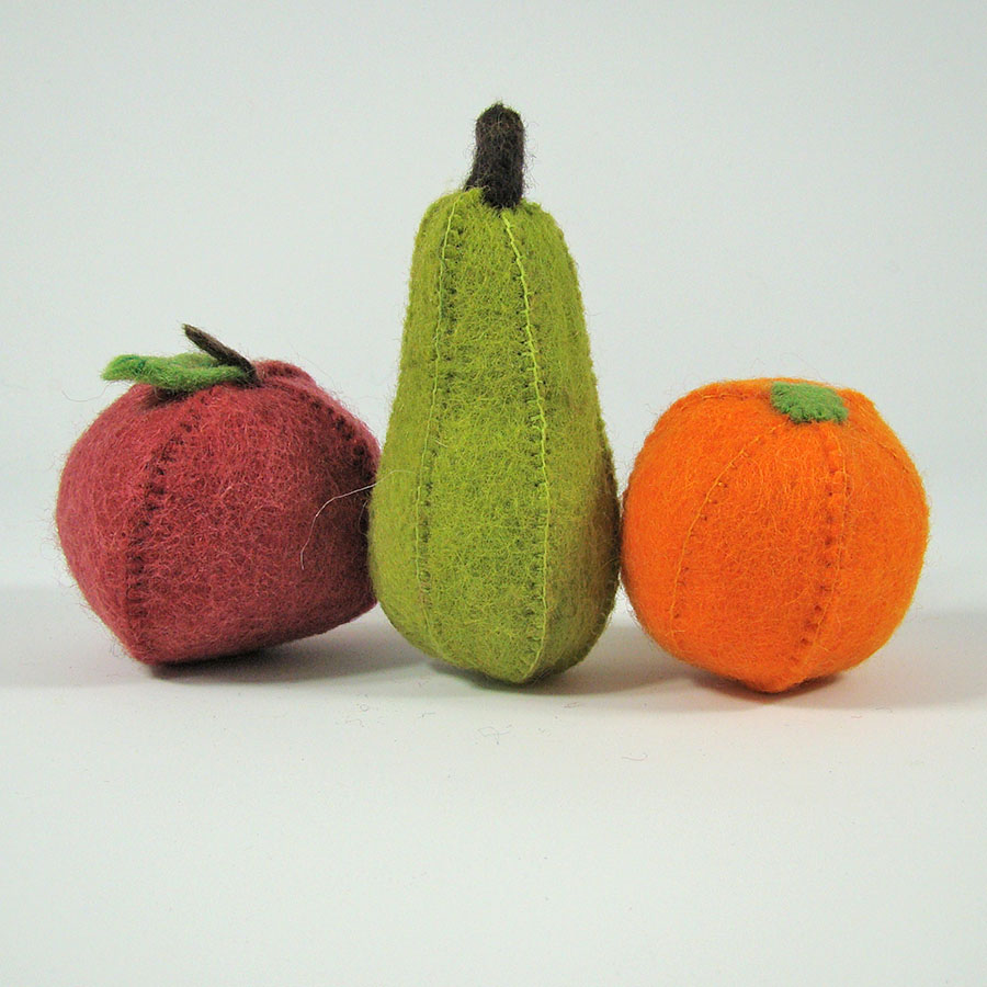 PP042 - Fruit en feutrine - Pomme, Poire, Orange